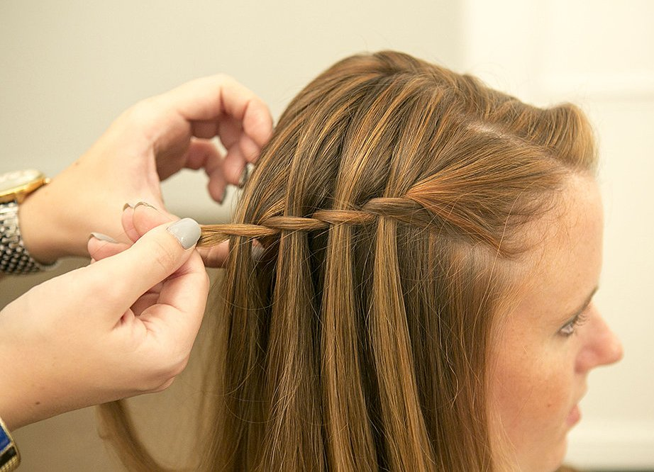 Как плести косу водопад схема