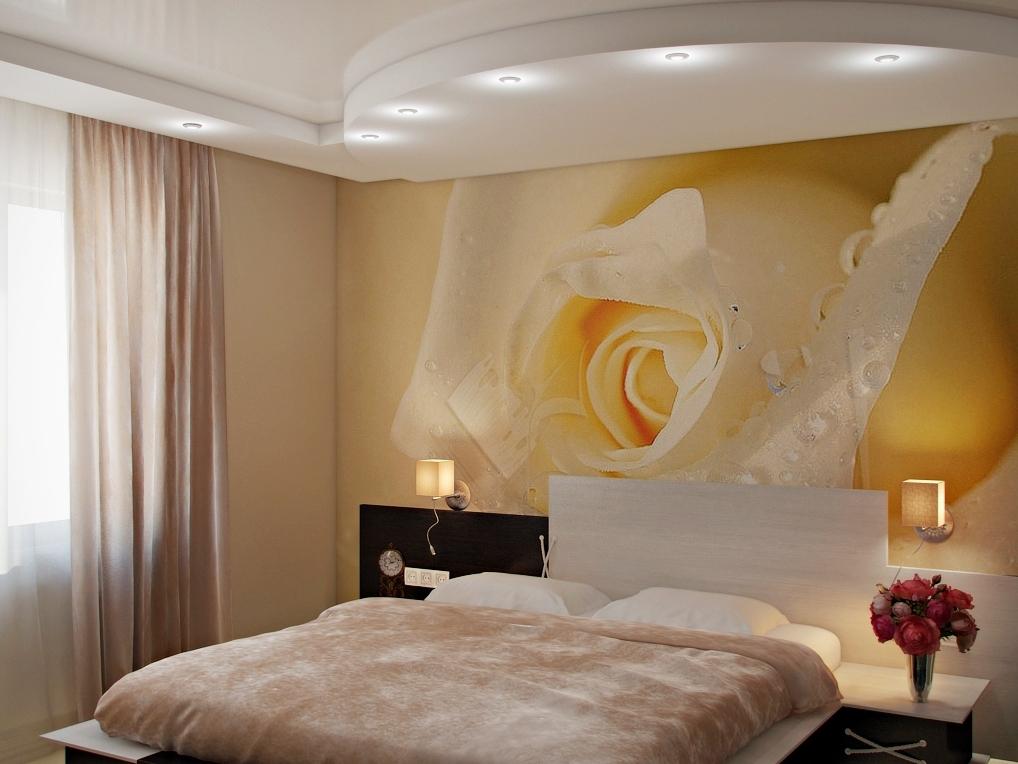 Фотообои в спальне фото розы